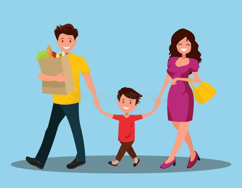 szczęśliwa rodzina Tata syn i mama iść do domu royalty ilustracja