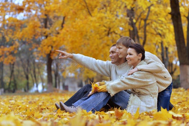 Szczęśliwa rodzina trzy na naturze obrazy stock
