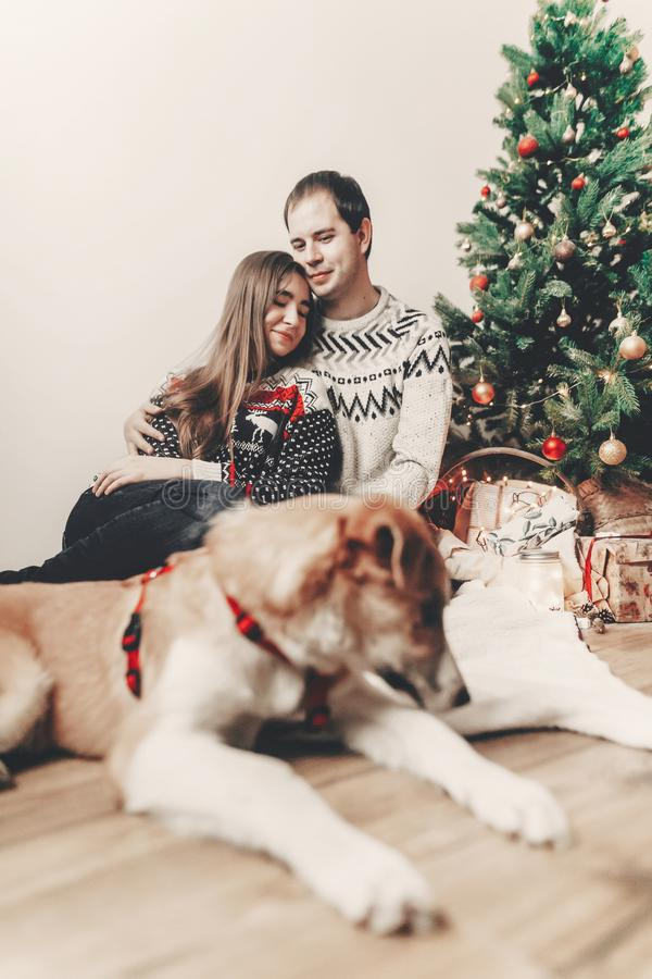 Szczęśliwa rodzina w eleganckich pulowerach i ślicznym psie przy choinką fotografia royalty free