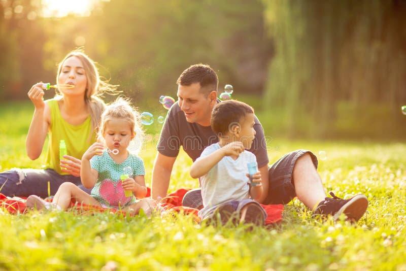 Szczęśliwa rodzina w parku na słonecznym dniu wpólnie - dziecko cios fotografia royalty free