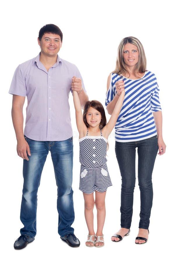 Szczęśliwa rodzina w pełnej długości obraz stock