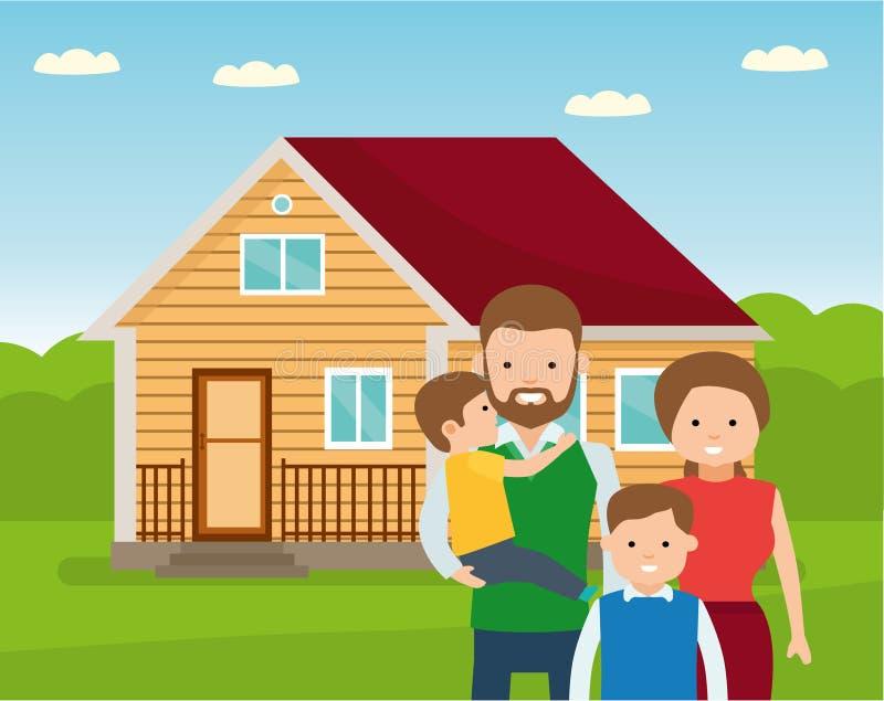 Szczęśliwa rodzina w tle jego do domu Ojcuje, matkuje, i dwa syn wpólnie outdoors ilustracji