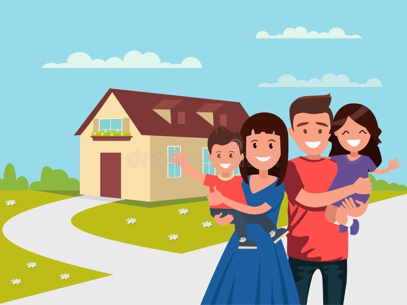 Szczęśliwa rodzina w tle jego do domu Ojcuje, matkuje, syn i córka wpólnie outdoors ilustracja wektor