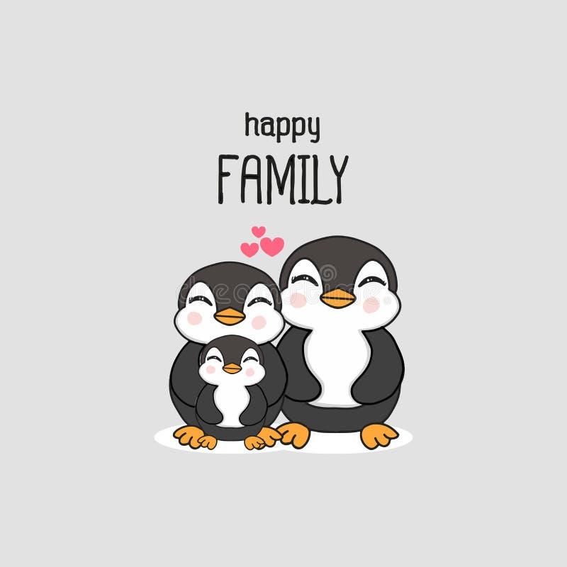 Szczęśliwa rodzina z śliczna ręka rysującą pingwin kreskówką ilustracja wektor