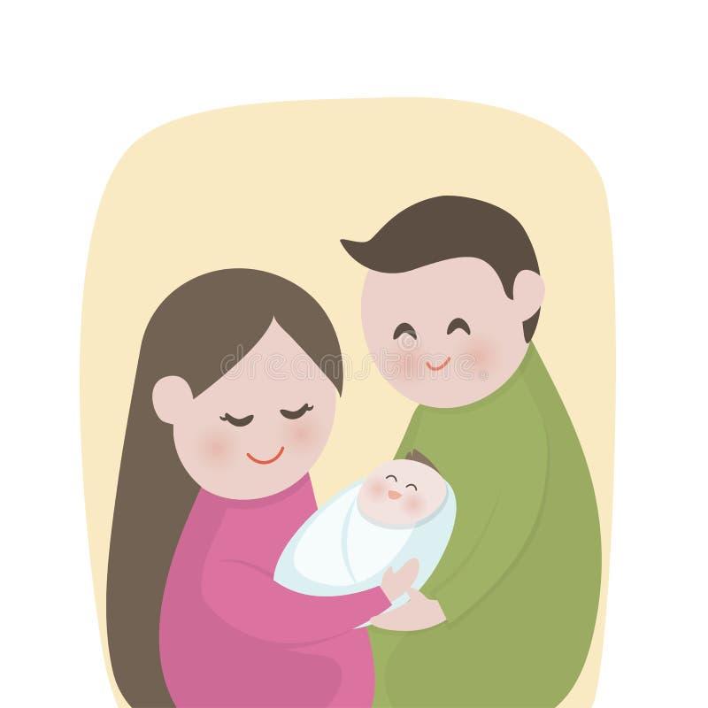 Szczęśliwa rodzina z ślicznym nowonarodzonym dzieckiem, Nowi rodzice trzyma, matka, ojciec, Wektorowa ilustracja ilustracji