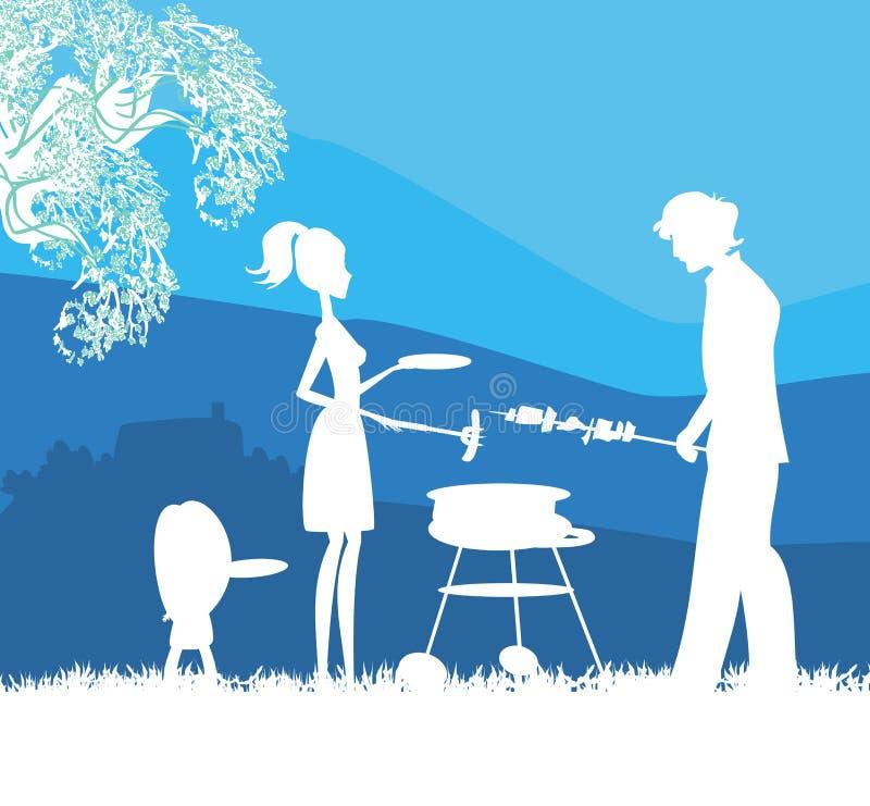 Szczęśliwa rodzina z grillem outdoors royalty ilustracja