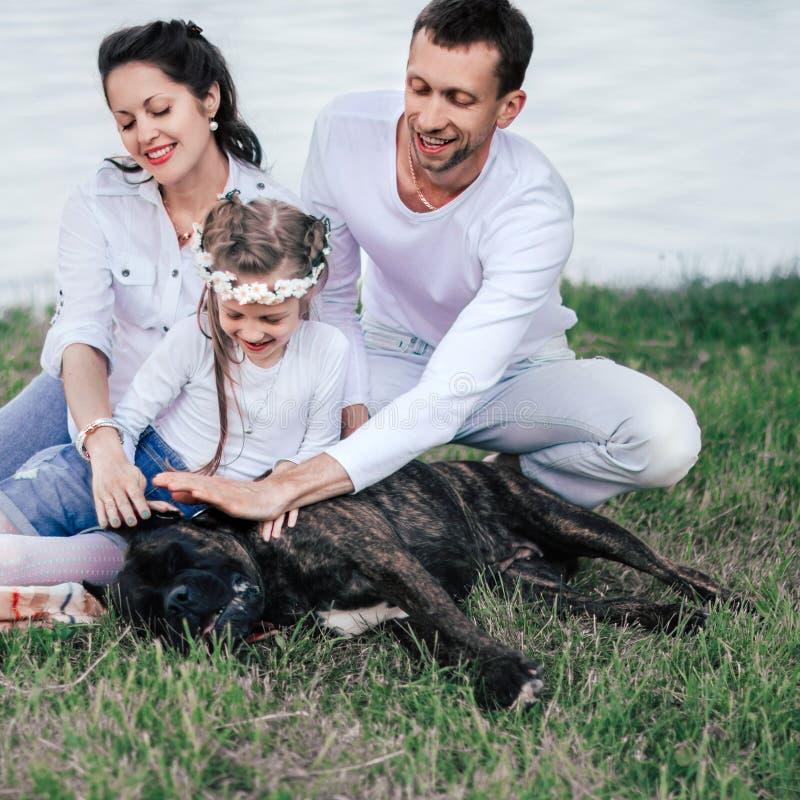 Szcz??liwa rodzina z ich du?ym psim obsiadaniem na trawie blisko rzeki fotografia royalty free