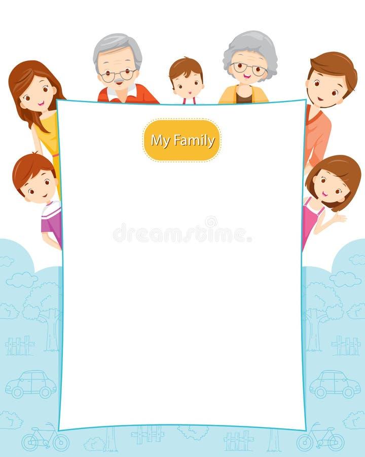 Szczęśliwa rodzina z puste miejsce znakiem ilustracji