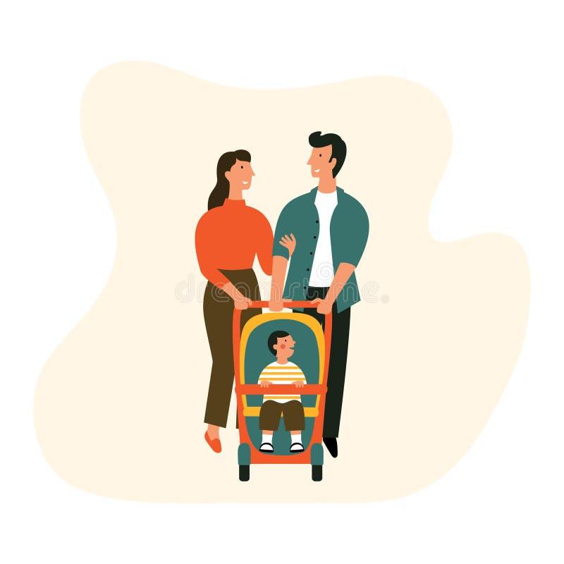 Szczęśliwa rodzina z wózkiem spacerowym Mężczyzna, kobieta i dziecko na spacerze, Wektorowa kresk?wki mieszkania ilustracja royalty ilustracja