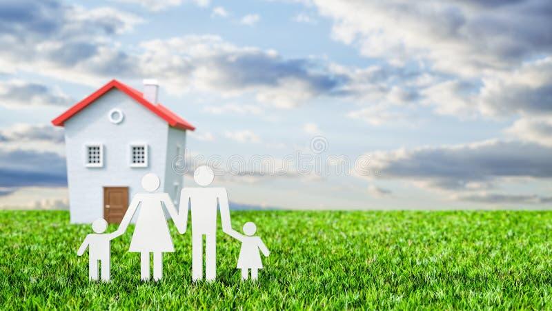 Szczęśliwa rodzina z wymarzonym domem 3d odpłaca się royalty ilustracja