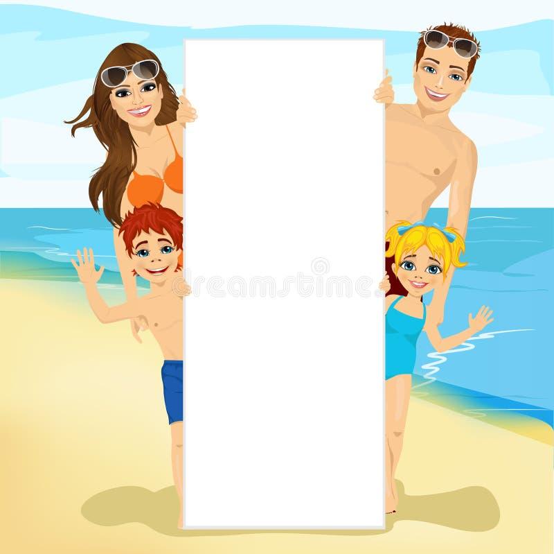 Szczęśliwa rodzina za białym pustym billboardem przy plażą royalty ilustracja