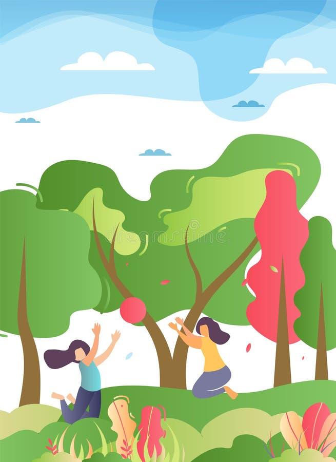 Szczęśliwa Rodzinna Bawić się piłka w Lasowej ilustracji ilustracji