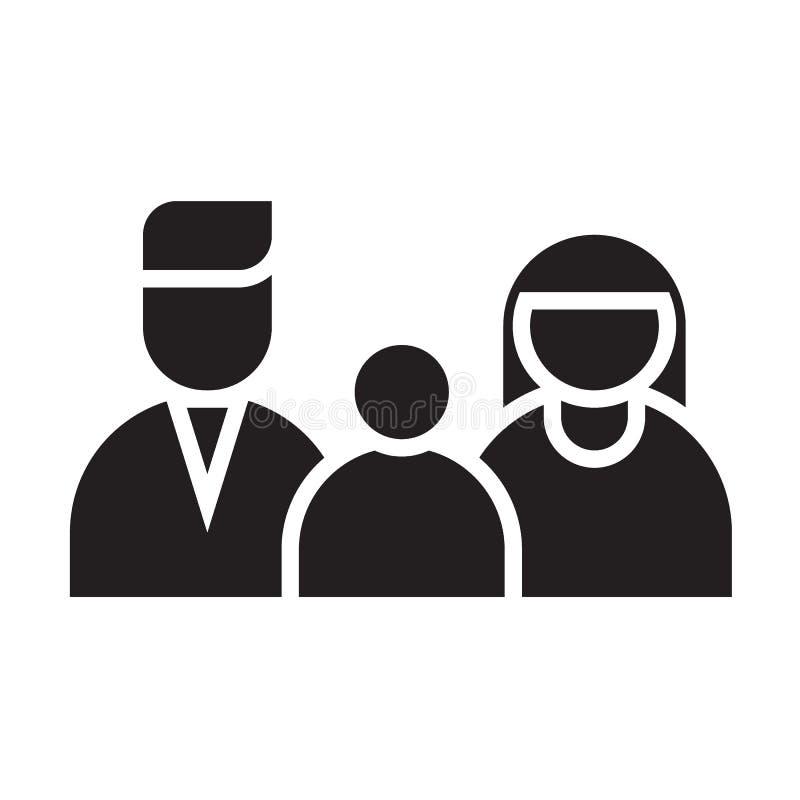 Szczęśliwa rodzinna czarna płaska ikona ilustracja wektor