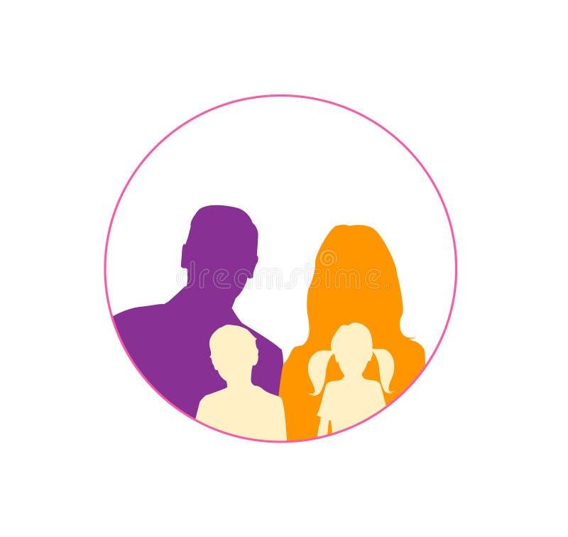 Szczęśliwa rodzinna ikona stubarwna w prostych postaciach ilustracji