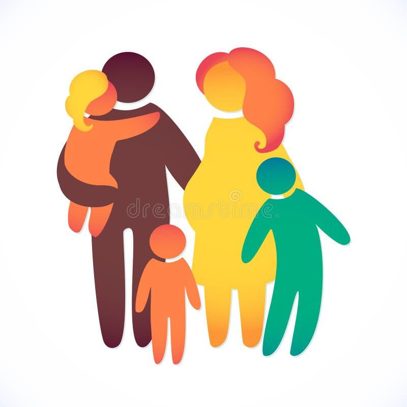 Szczęśliwa rodzinna ikona stubarwna w prostych postaciach Trzy dzieci, tata i mamy stojaka wpólnie, Wektor może używać jako logot ilustracja wektor