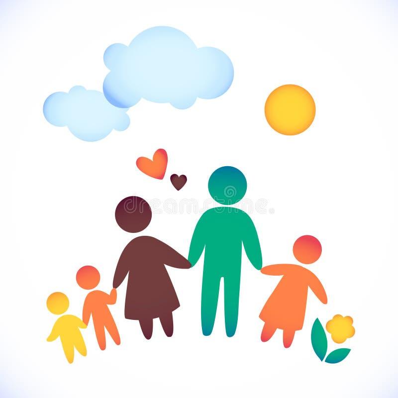 Szczęśliwa rodzinna ikona stubarwna w prostych postaciach Trzy dzieci, tata i mamy stojaka wpólnie, Wektor może używać jako logot ilustracji