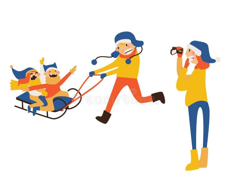 Szczęśliwa rodzinna ilustracja z dzieciakami sledding, ojciec jazda, macierzysty nagranie z kamera wideo royalty ilustracja