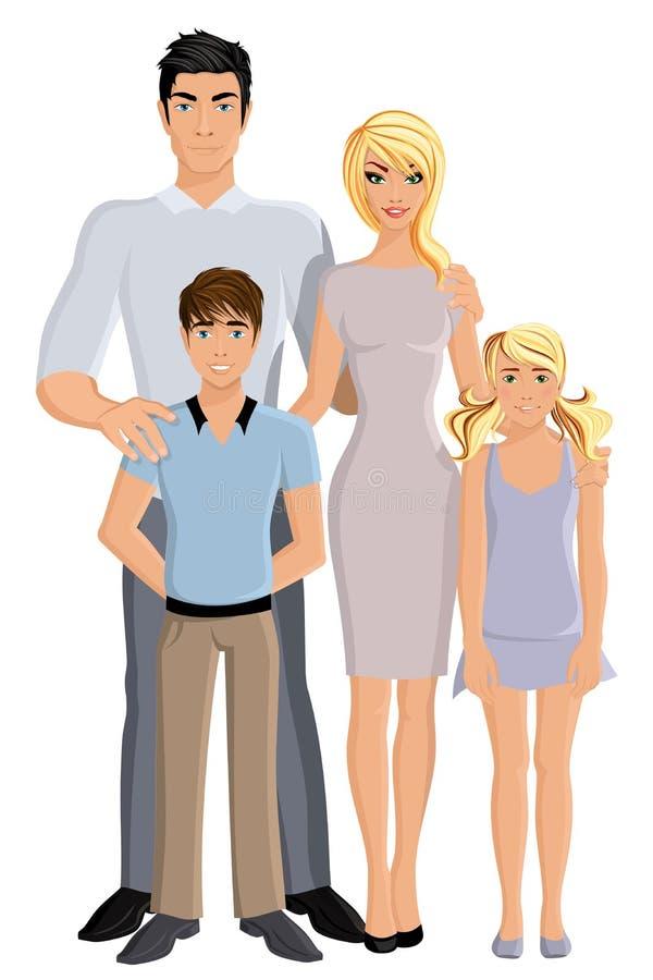 Szczęśliwa rodzinna pełna długość royalty ilustracja