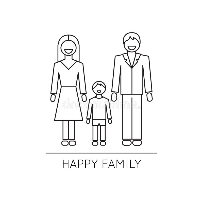 Szczęśliwa rodzinnej linii ikona ilustracji