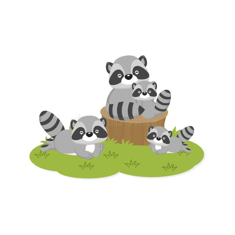Szczęśliwa rodziny karta Śliczni szop pracz rodzinni ilustracja wektor