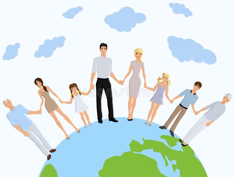 Szczęśliwa rodziny ziemia ilustracji