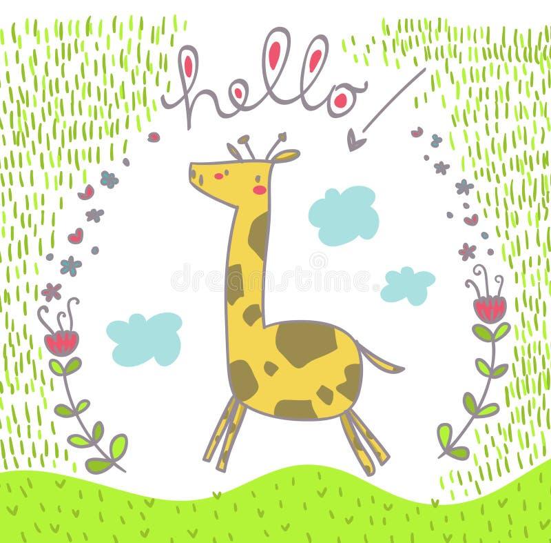 Szczęśliwa skokowa żyrafa ilustracji