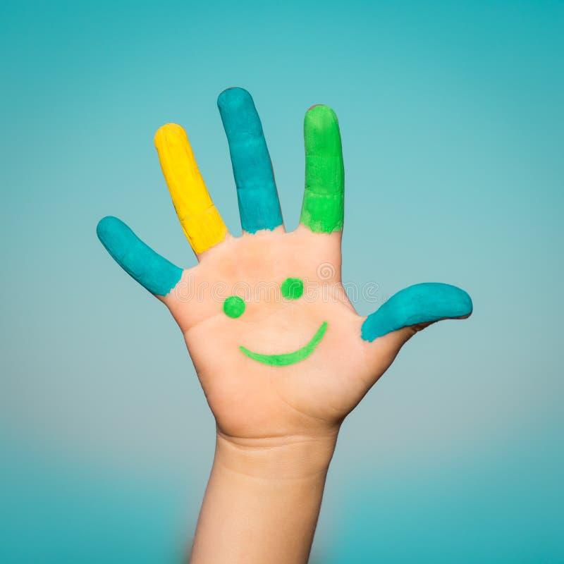 Szczęśliwa smiley ręka zdjęcia stock