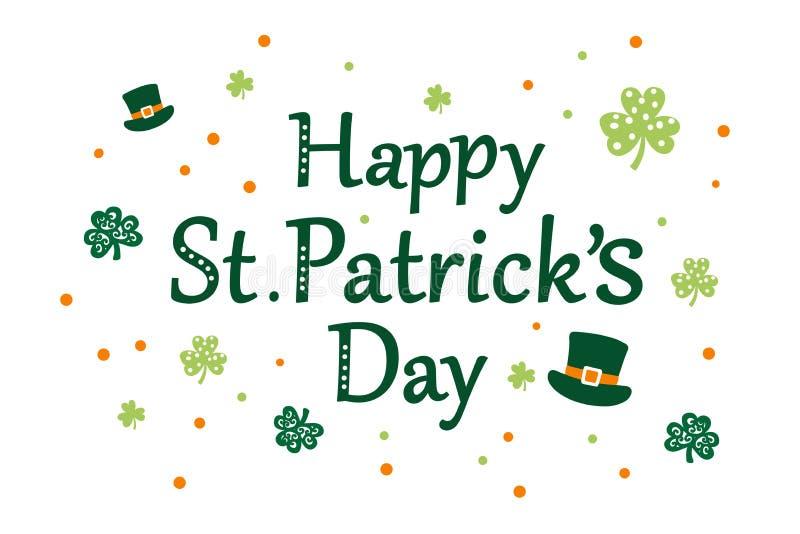 Szczęśliwa St Patrick ` s dnia wiadomość ilustracja wektor