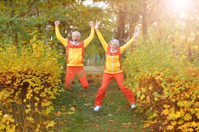 Szczęśliwa starsza kobieta i mężczyzna w parku zdjęcia stock