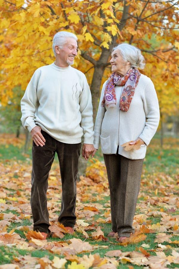 Szczęśliwa starsza kobieta i mężczyzna w parku zdjęcia royalty free