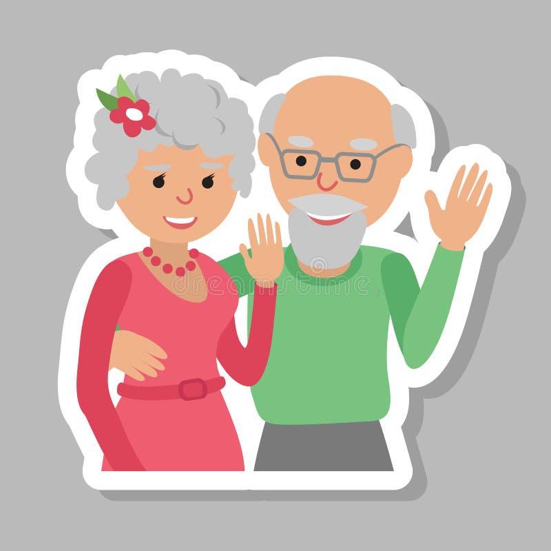 Szczęśliwa starsza para macha jego ręka Wektorowy rysunek w płaskim stylu Cześć gest ilustracji