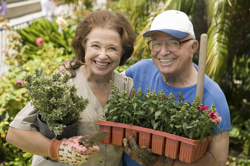 Szczęśliwa Starsza para Uprawia ogródek Wpólnie obraz stock