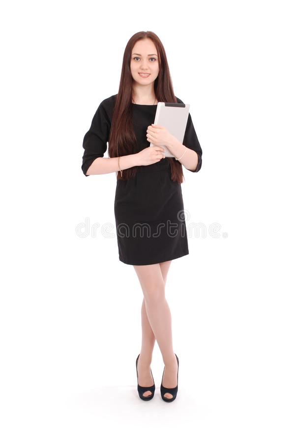 Szczęśliwa studencka nastoletnia dziewczyna z pastylka komputerem osobistym obrazy stock