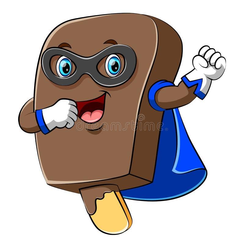 Szczęśliwa super bohatera lody czekolady kreskówka ilustracja wektor