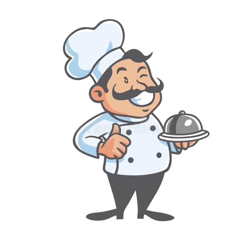 Szczęśliwa szef kuchni maskotka royalty ilustracja