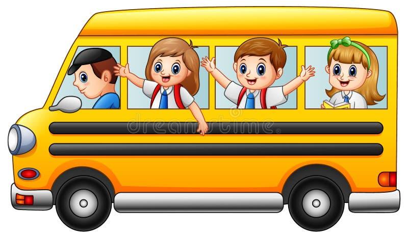 Szczęśliwa szkoła żartuje jechać autobus szkolnego ilustracja wektor