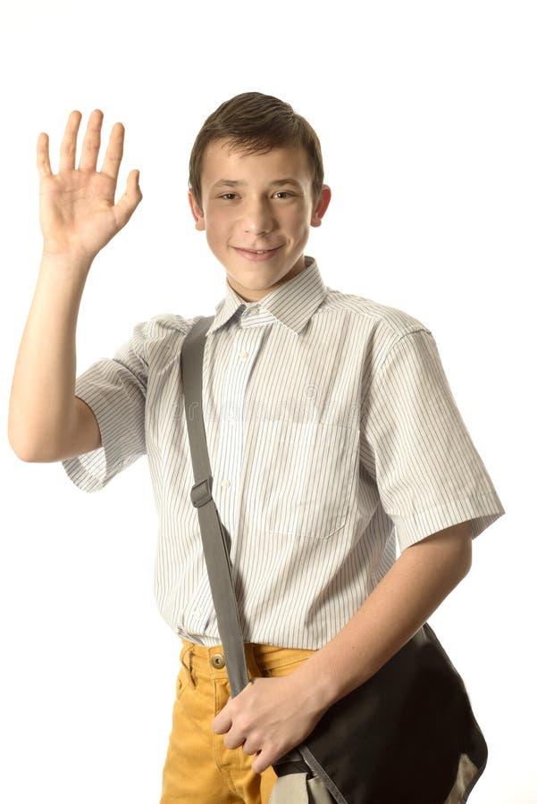 Szczęśliwa szkolna chłopiec fotografia stock