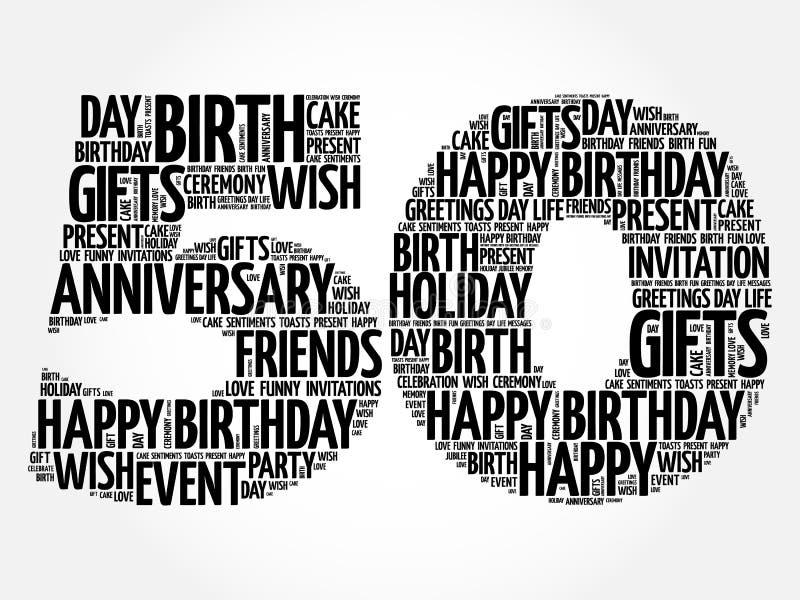 Szczęśliwa 50th urodzinowa słowo chmura ilustracja wektor