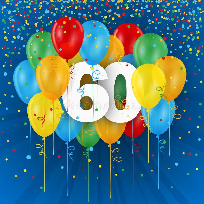 Szczęśliwa 60th urodziny, rocznicy karta z balonami/ ilustracja wektor