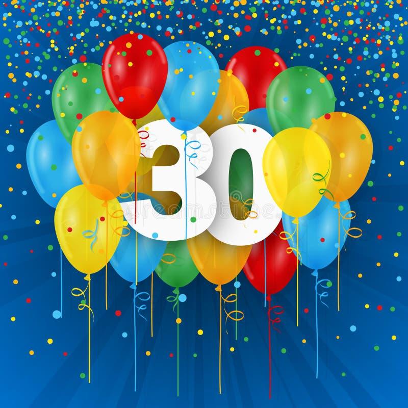 Szczęśliwa 30th urodziny, rocznicy karta z balonami/ royalty ilustracja