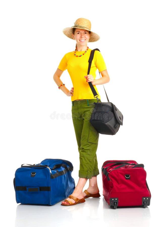 szczęśliwa turystyczna kobieta obrazy royalty free