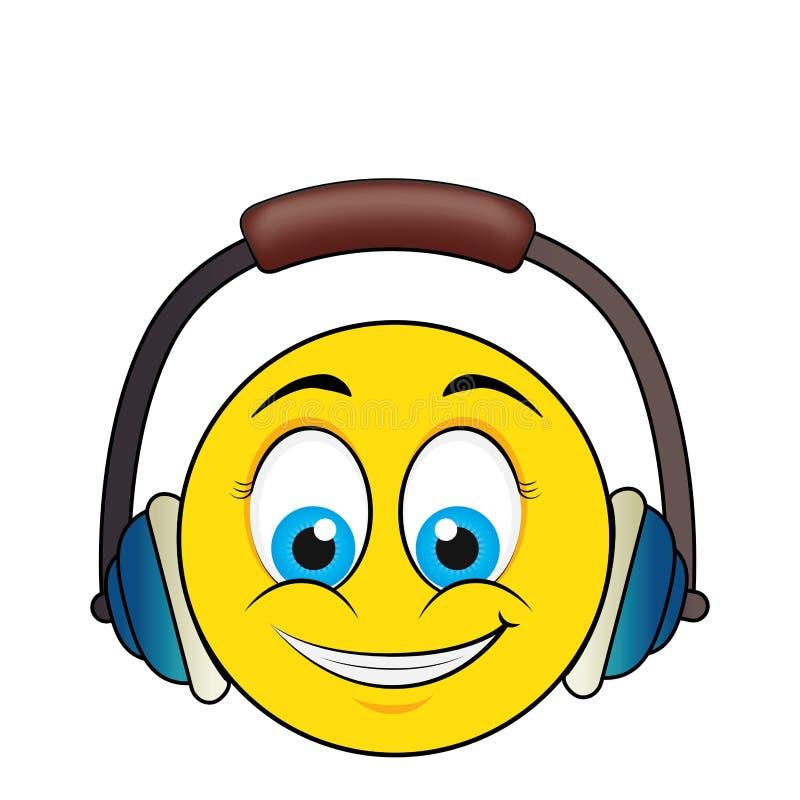 szczęśliwa twarz z słuchawki ilustracji