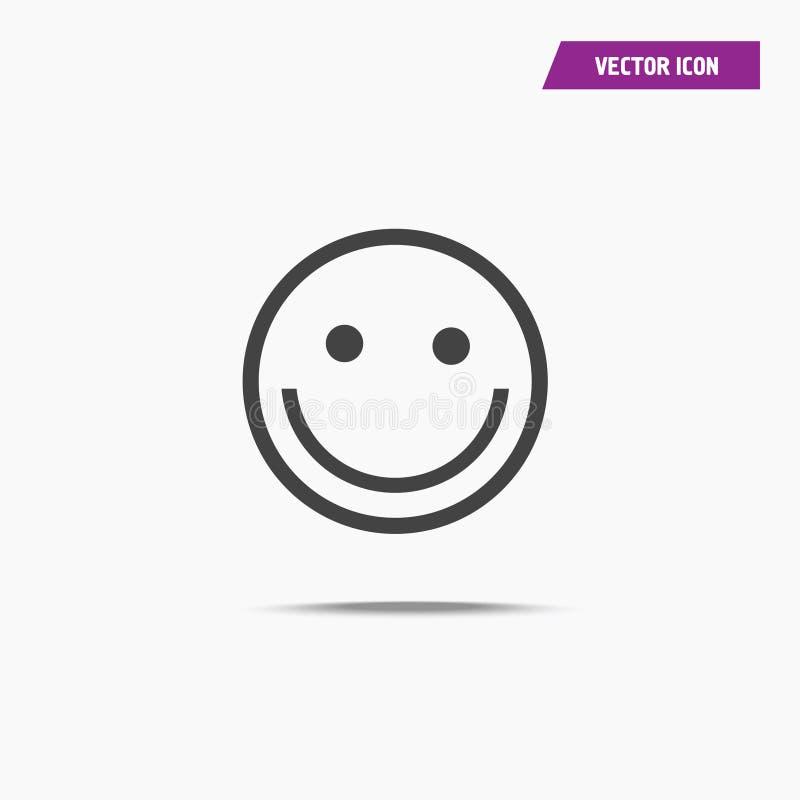 Szczęśliwa uśmiech ikona z cieniem w mieszkanie stylu ilustracja wektor