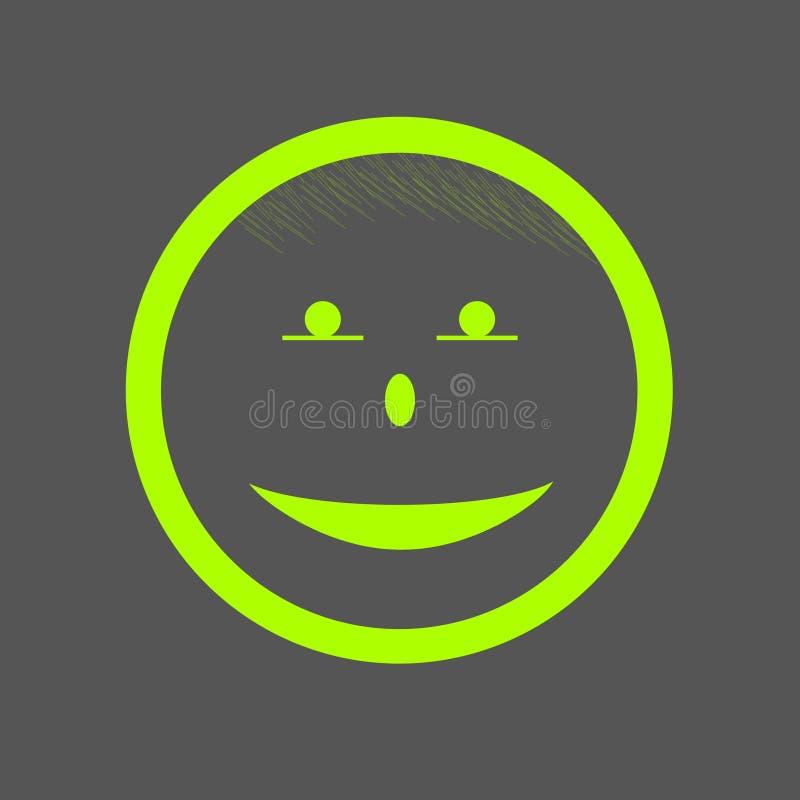 Szczęśliwa uśmiech twarzy ikony ilustraci zieleń na popielatym tle zdjęcia stock