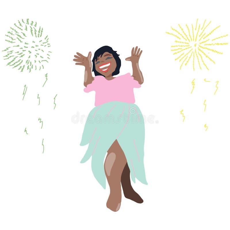 Szczęśliwa uśmiechnięta dziewczyny odświętność z fajerwerków wybuchami ilustracja wektor
