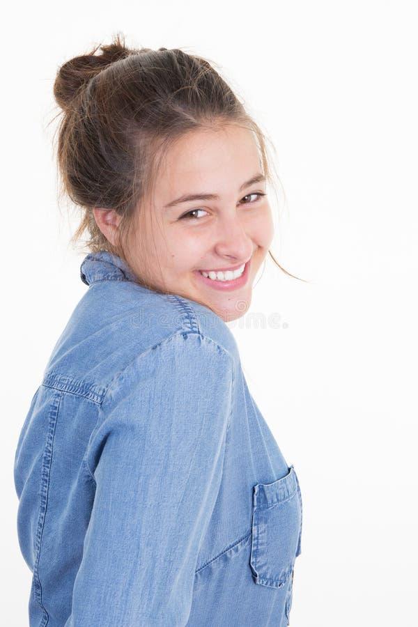Szczęśliwa uśmiechnięta młodej kobiety lub nastolatka dziewczyna obrazy stock