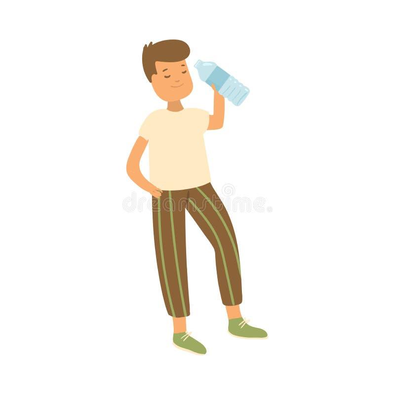 Szczęśliwa uśmiechnięta studencka chłopiec pije zimną wodę royalty ilustracja