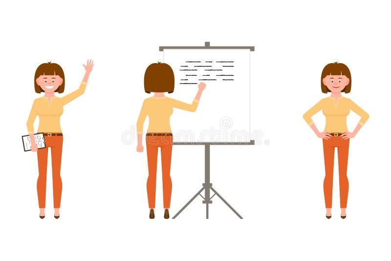 Szczęśliwa, ufna kobieta w pomarańcze, dyszy wektorową ilustrację Stojący z notatkami, machający cześć, pisze na flipchart dziewc royalty ilustracja