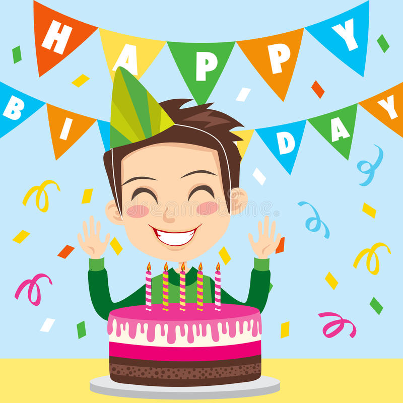 szczęśliwa urodzinowa chłopiec ilustracji