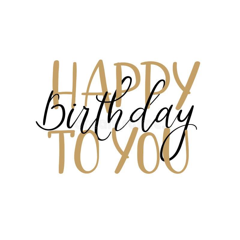 szczęśliwa urodzinowy Ręki literowania kartka z pozdrowieniami, nowożytna kaligrafia royalty ilustracja